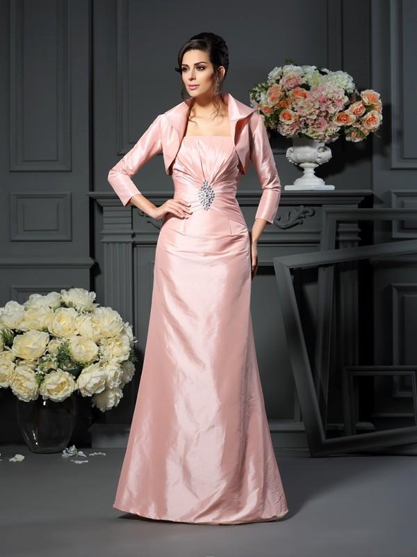 A-Line/Princess Pleats Strapless Sleeveless Floor-Length Taffeta Mother of the Bride Dresses