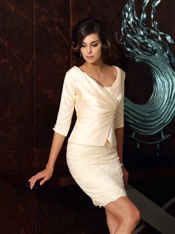 Sheath/Column Applique Strapless Sleeveless Short/Mini Satin Mother of the Bride Dresses
