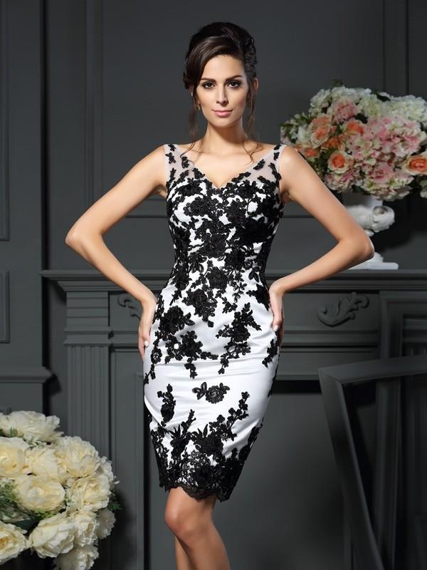 Sheath/Column Applique V-neck Sleeveless Knee-Length Satin Mother of the Bride Dresses