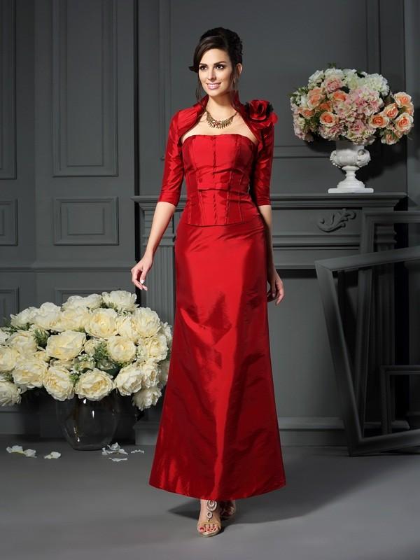 A-Line/Princess Hand-Made Flower Strapless Sleeveless Ankle-Length Taffeta Mother of the Bride Dresses