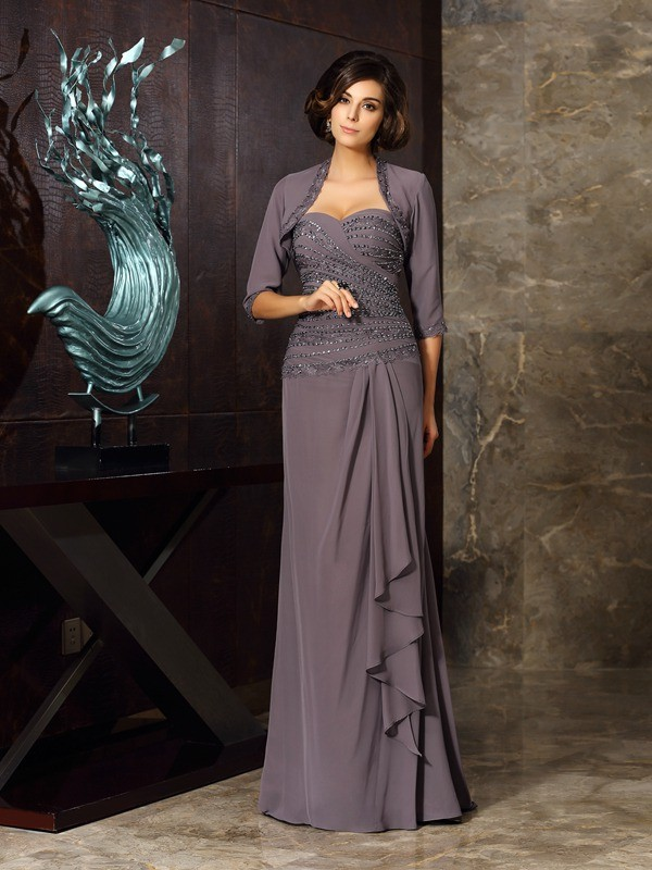 Sheath/Column Beading Sweetheart Sleeveless Floor-Length Chiffon Mother of the Bride Dresses