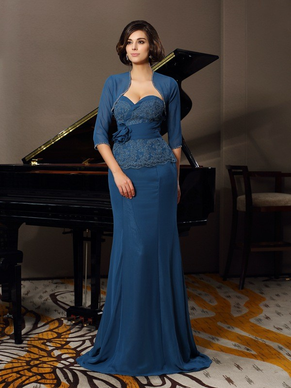 Trumpet/Mermaid Applique Sweetheart Sleeveless Sweep/Brush Train Chiffon Mother of the Bride Dresses