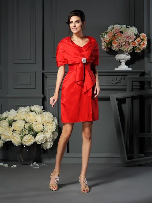 A-Line/Princess Pleats V-neck Sleeveless Short/Mini Taffeta Mother of the Bride Dresses