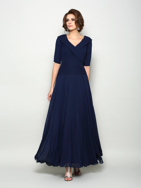 A-Line/Princess V-neck 1/2 Sleeves Ankle-Length Chiffon Mother of the Bride Dresses