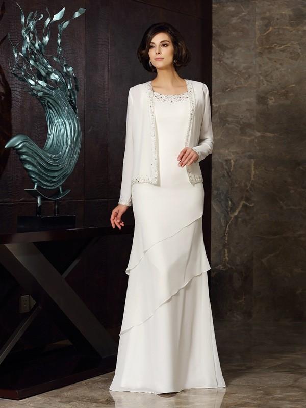 Sheath/Column Beading Scoop Sleeveless Floor-Length Chiffon Mother of the Bride Dresses