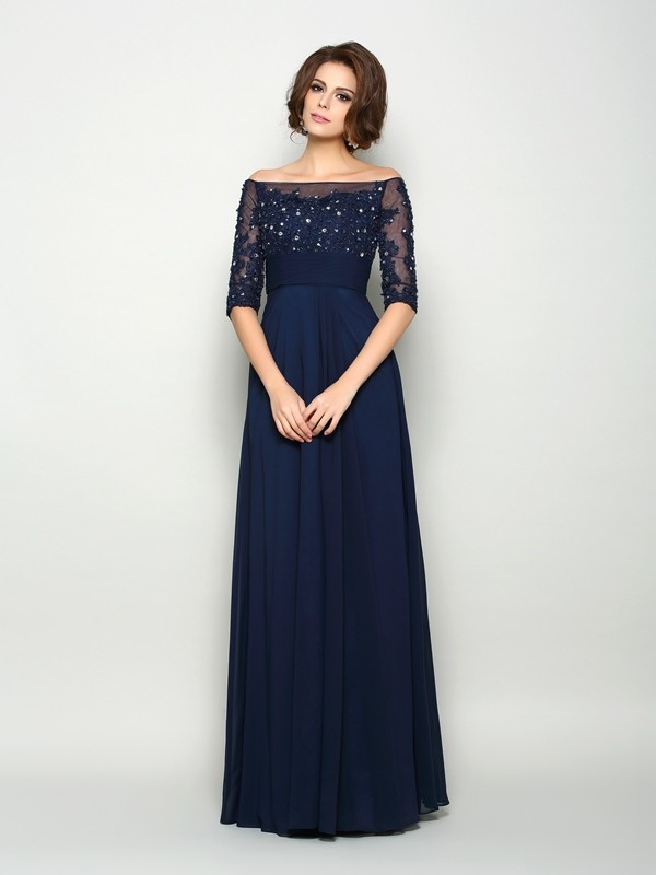 A-Line/Princess Beading Off-the-Shoulder 1/2 Sleeves Floor-Length Chiffon Mother of the Bride Dresses