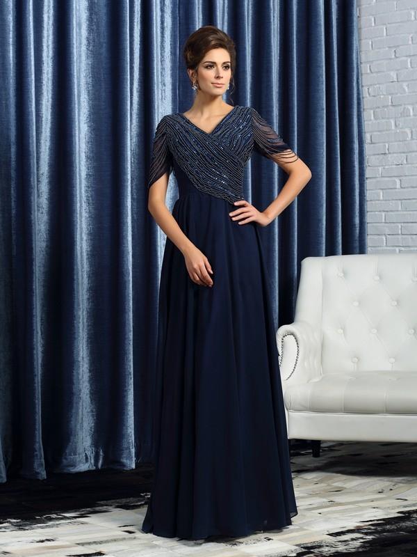 A-Line/Princess V-neck Short Sleeves Floor-Length Chiffon Mother of the Bride Dresses