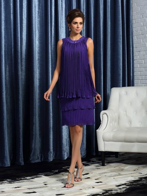 A-Line/Princess Pleats Jewel Sleeveless Knee-Length Chiffon Mother of the Bride Dresses