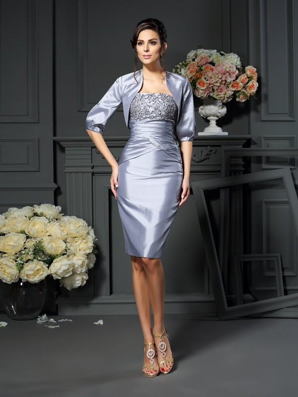 Sheath/Column Sweetheart Sleeveless Knee-Length Taffeta Mother of the Bride Dresses