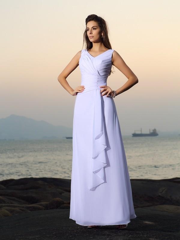 A-Line/Princess Beading V-neck Sleeveless Floor-Length Chiffon Wedding Dresses
