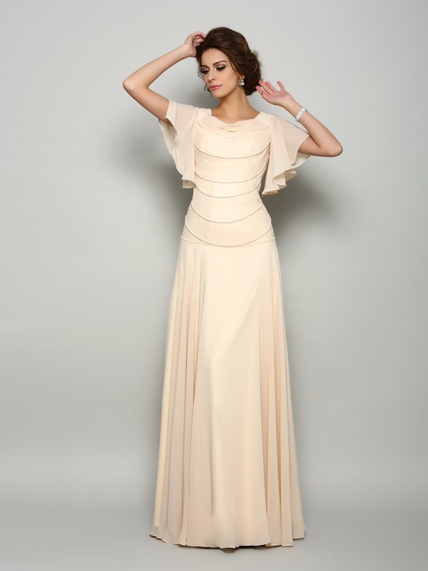 A-Line/Princess Beading Square Short Sleeves Floor-Length Chiffon Mother of the Bride Dresses