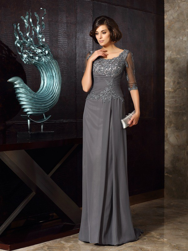 A-Line/Princess Beading Scoop 1/2 Sleeves Sweep/Brush Train Chiffon Mother of the Bride Dresses