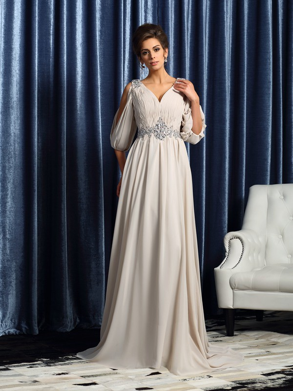 A-Line/Princess Beading V-neck 1/2 Sleeves Court Train Chiffon Mother of the Bride Dresses
