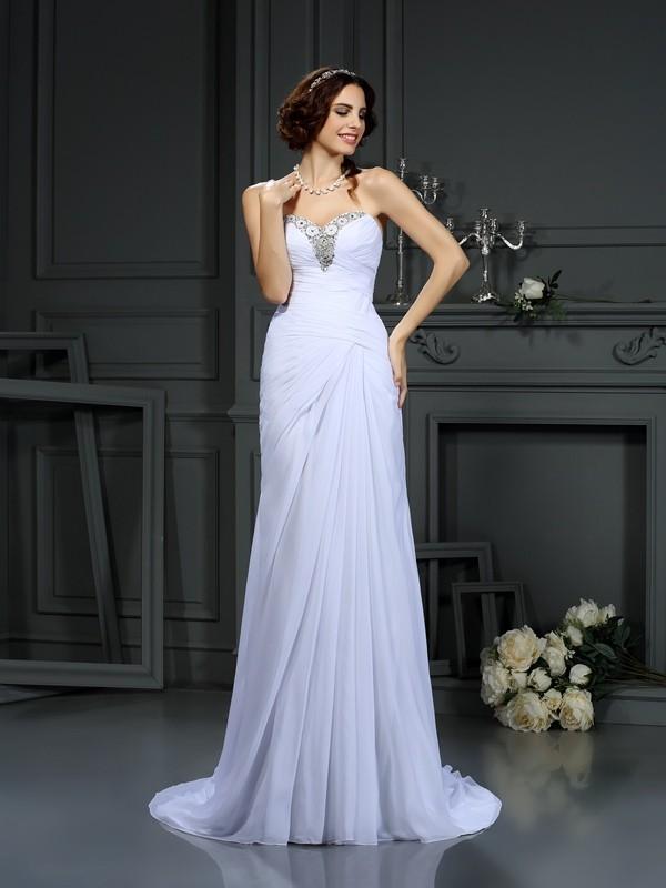 Sheath/Column Beading Sweetheart Sleeveless Sweep/Brush Train Chiffon Wedding Dresses