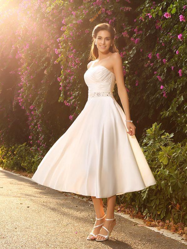 A-Line/Princess Beading Sweetheart Sleeveless Tea-Length Satin Wedding Dresses