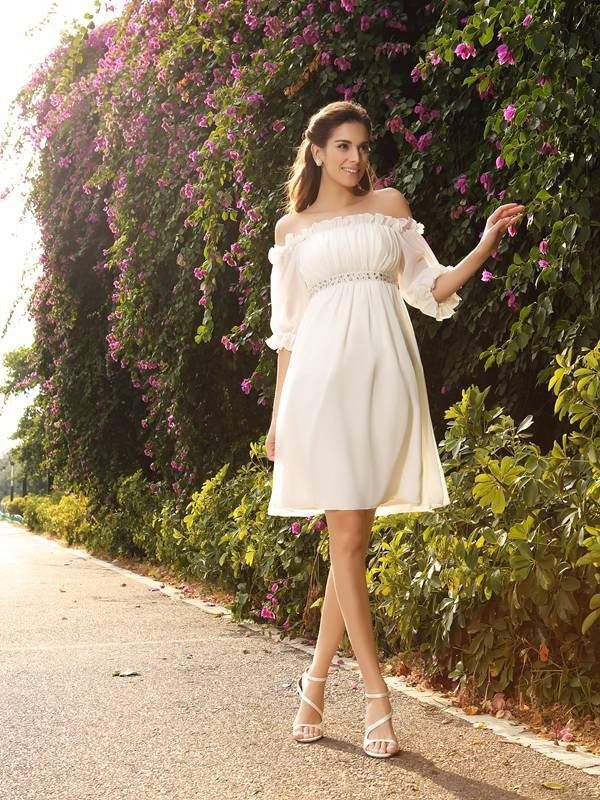 A-Line/Princess Beading Off-the-Shoulder 1/2 Sleeves Knee-Length Chiffon Wedding Dresses