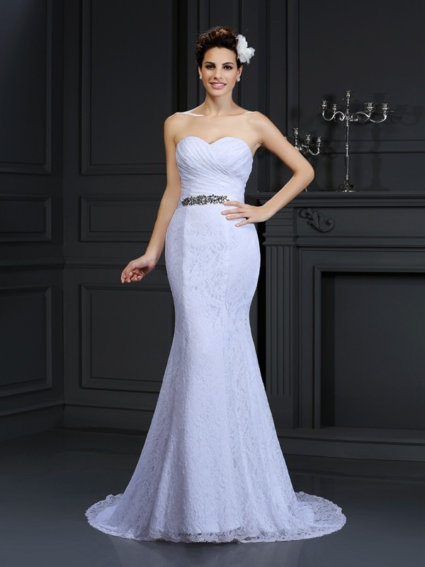 Trumpet/Mermaid Sweetheart Sleeveless Chapel Train Lace Wedding Dresses