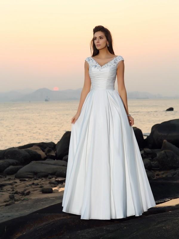 A-Line/Princess Beading V-neck Sleeveless Floor-Length Taffeta Wedding Dresses