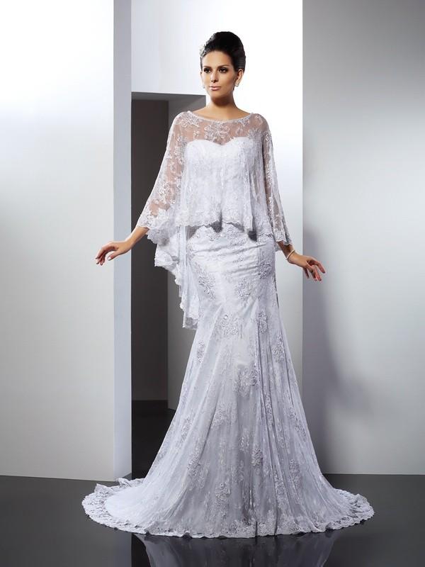 Trumpet/Mermaid Applique Sweetheart Sleeveless Court Train Lace Wedding Dresses