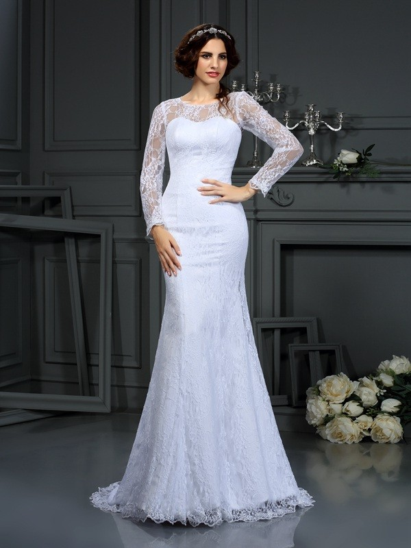 Sheath/Column Lace Scoop Long Sleeves Court Train Satin Wedding Dresses