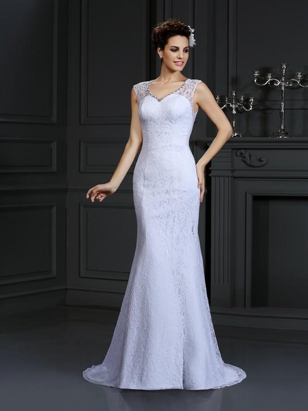 Sheath/Column Lace V-neck Sleeveless Court Train Satin Wedding Dresses
