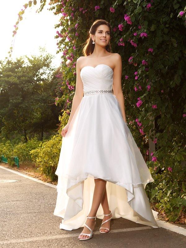 A-Line/Princess Beading Sweetheart Sleeveless Asymmetrical Organza Wedding Dresses