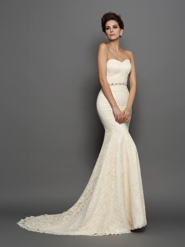 Trumpet/Mermaid Bowknot Sweetheart Sleeveless Chapel Train Satin Wedding Dresses