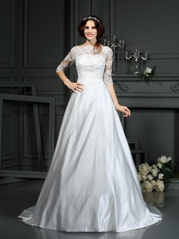 A-Line/Princess Lace Bateau 1/2 Sleeves Court Train Satin Wedding Dresses