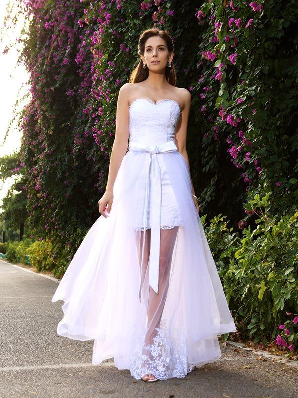 Trumpet/Mermaid Applique Sweetheart Sleeveless Floor-Length Tulle Wedding Dresses