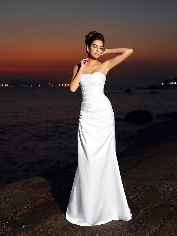 Trumpet/Mermaid Sweetheart Sleeveless Chapel Train Satin Wedding Dresses