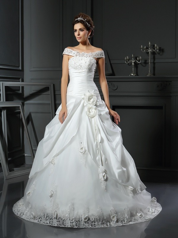 Ball Gown Hand-Made Flower Off-the-Shoulder Sleeveless Chapel Train Satin Wedding Dresses
