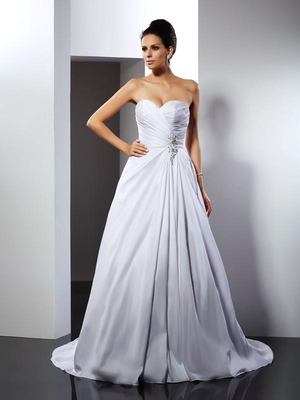 A-Line/Princess Ruffles Sweetheart Sleeveless Court Train  Wedding Dresses