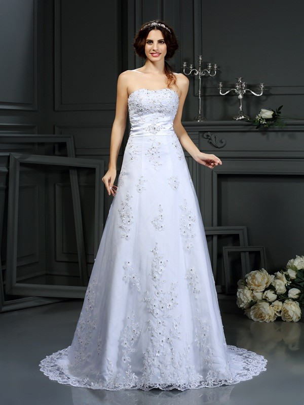 A-Line/Princess Applique Strapless Sleeveless Court Train Satin Wedding Dresses
