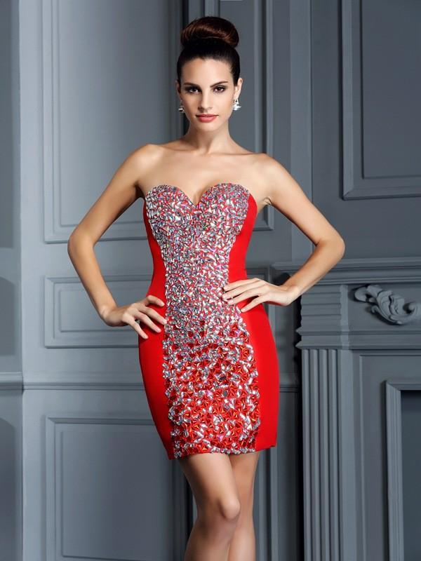 Sheath/Column Embroidery Sweetheart Sleeveless Short/Mini Taffeta Dresses