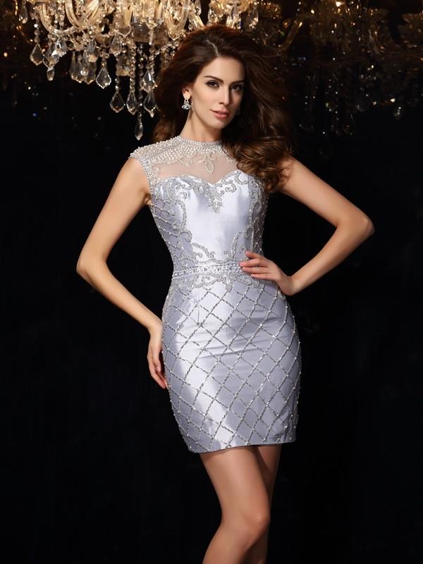 Sheath/Column Beading High Neck Sleeveless Short/Mini Taffeta Dresses
