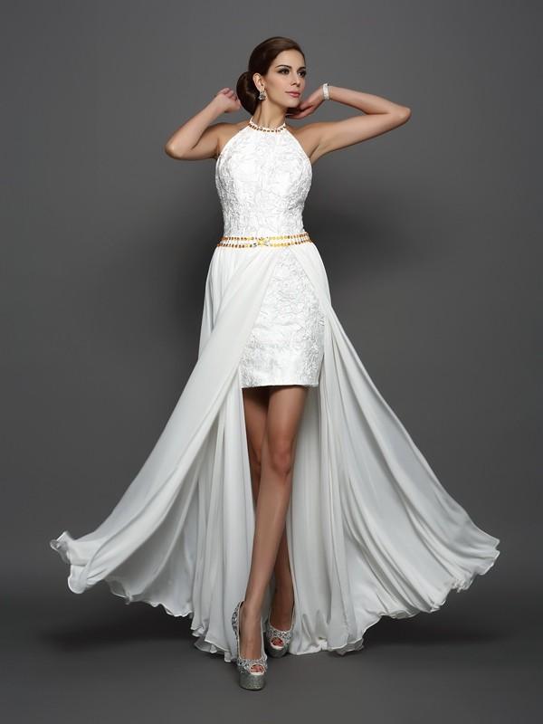 A-Line/Princess Lace High Neck Sleeveless Chapel Train Chiffon Wedding Dresses