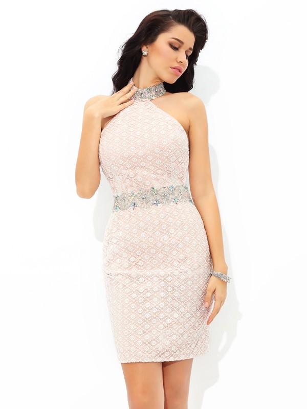 Sheath/Column Beading Halter Sleeveless Short/Mini Satin Dresses