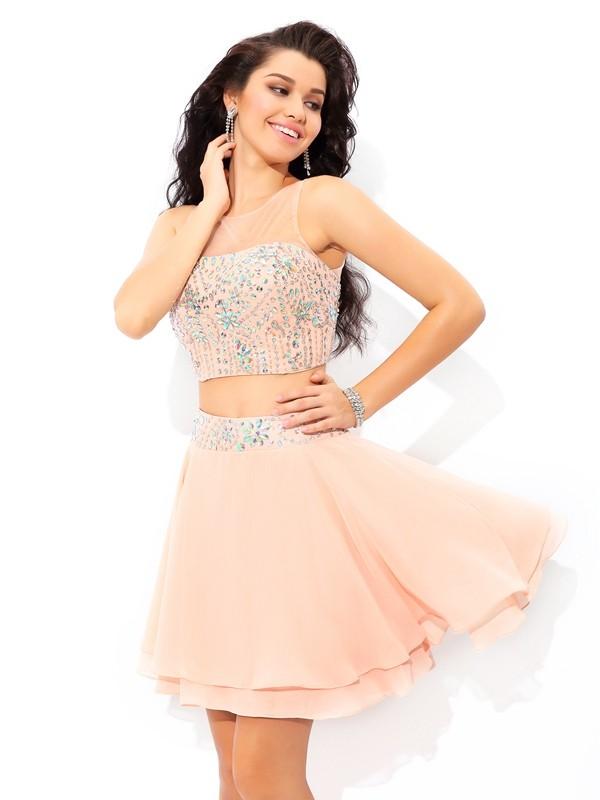 A-Line/Princess Beading Sheer Neck Sleeveless Short/Mini Chiffon Two Piece Dresses