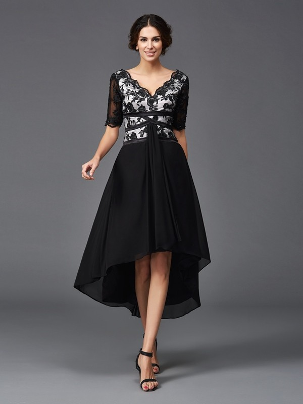 A-Line/Princess Lace V-neck 1/2 Sleeves Asymmetrical Chiffon Dresses