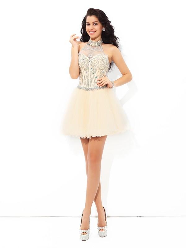 A-Line/Princess Beading Halter Sleeveless Short/Mini Satin Dresses