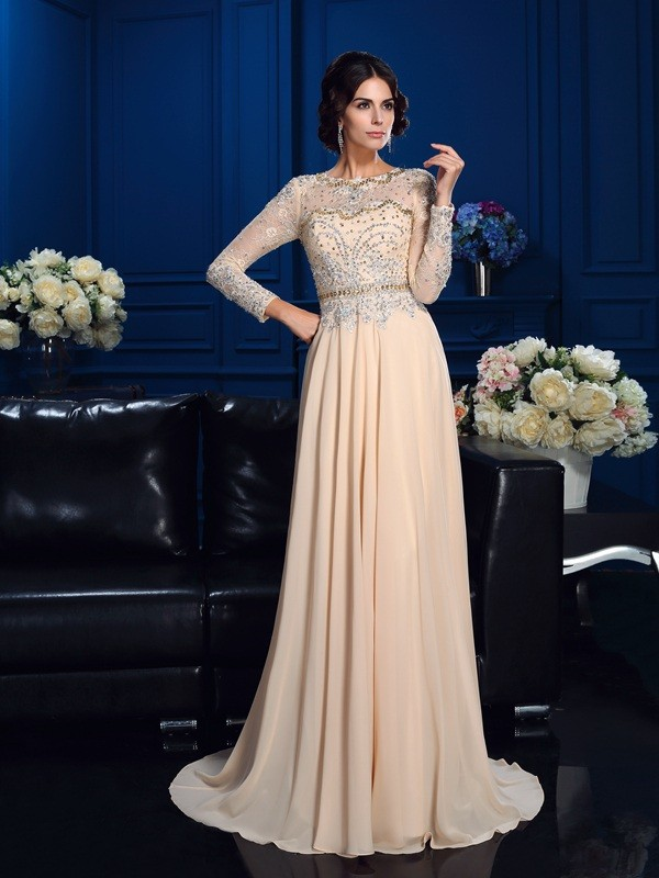 A-Line/Princess Beading Scoop Long Sleeves Sweep/Brush Train Chiffon Mother of the Bride Dresses