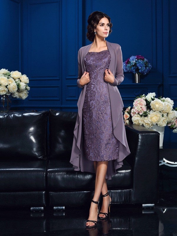 Sheath/Column Straps Sleeveless Knee-Length Chiffon Mother of the Bride Dresses