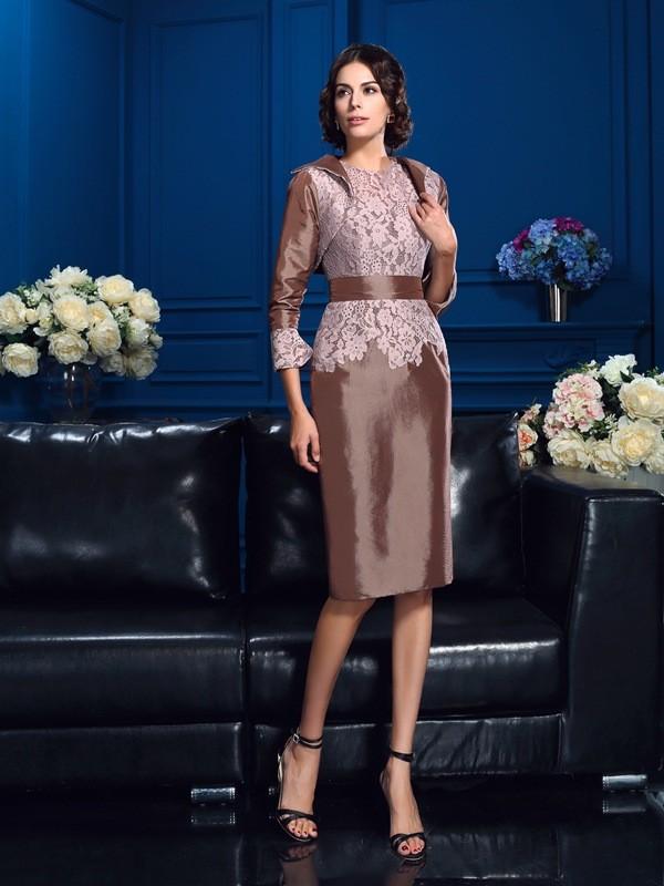 Sheath/Column Lace Jewel Short Sleeves Knee-Length Taffeta Mother of the Bride Dresses