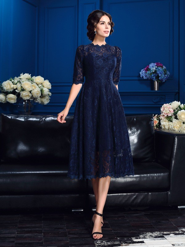 A-Line/Princess Lace Jewel 1/2 Sleeves Knee-Length Lace Mother of the Bride Dresses