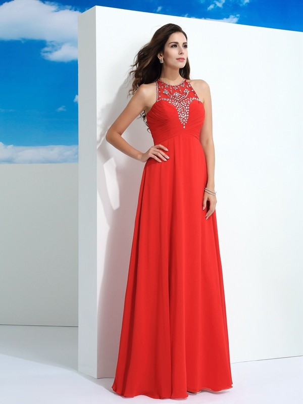 A-Line/Princess Beading Sheer Neck Sleeveless Floor-Length Chiffon Dresses
