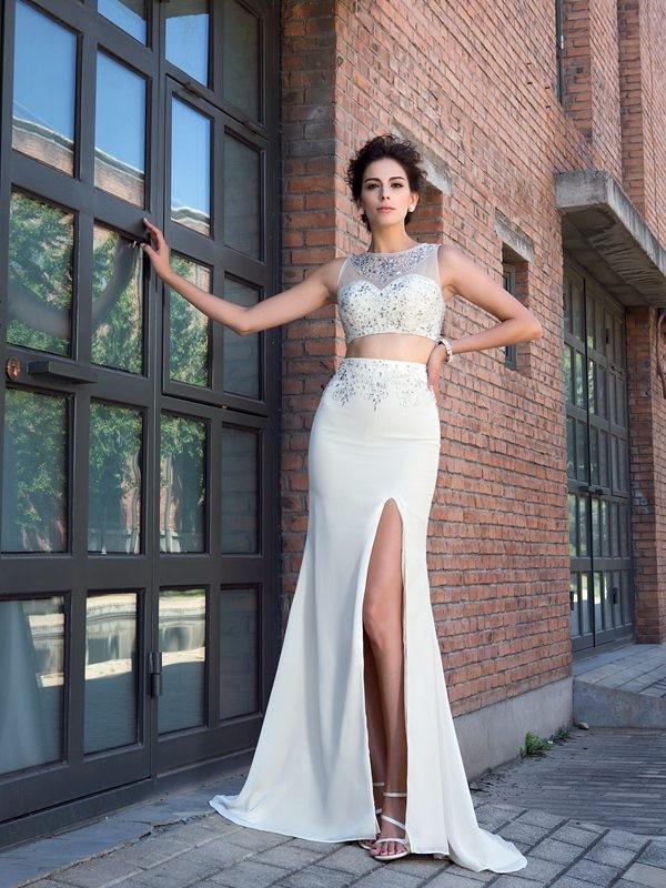 Sheath/Column Crystal High Neck Sleeveless Sweep/Brush Train Chiffon Two Piece Dresses