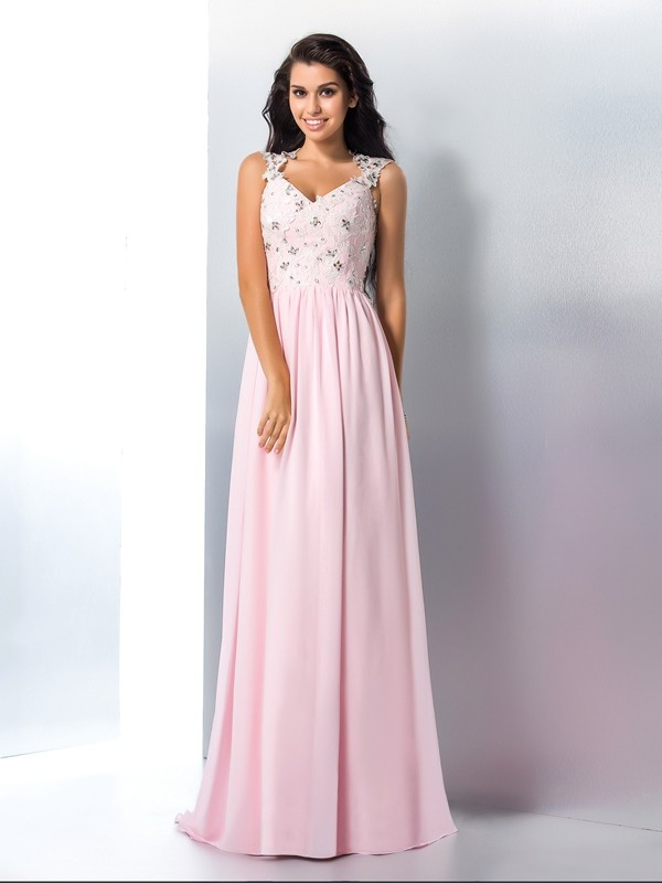 A-Line/Princess Applique V-neck Sleeveless Sweep/Brush Train Chiffon Dresses