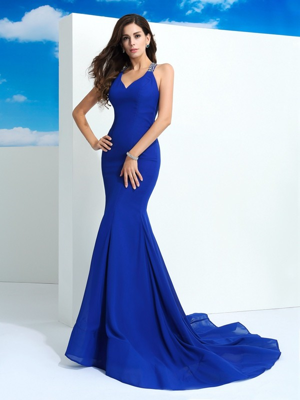 Sheath/Column Beading Straps Sleeveless Court Train Chiffon Dresses