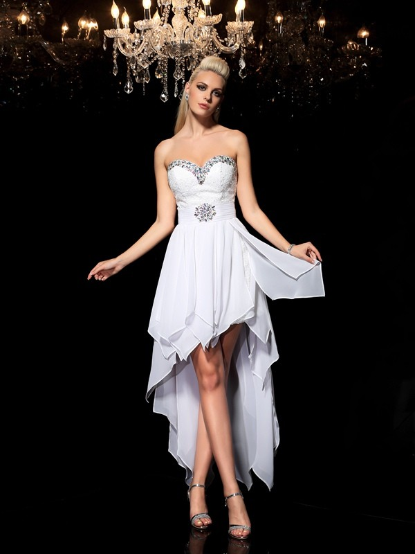 A-Line/Princess Beading Sweetheart Sleeveless Asymmetrical Chiffon Dresses