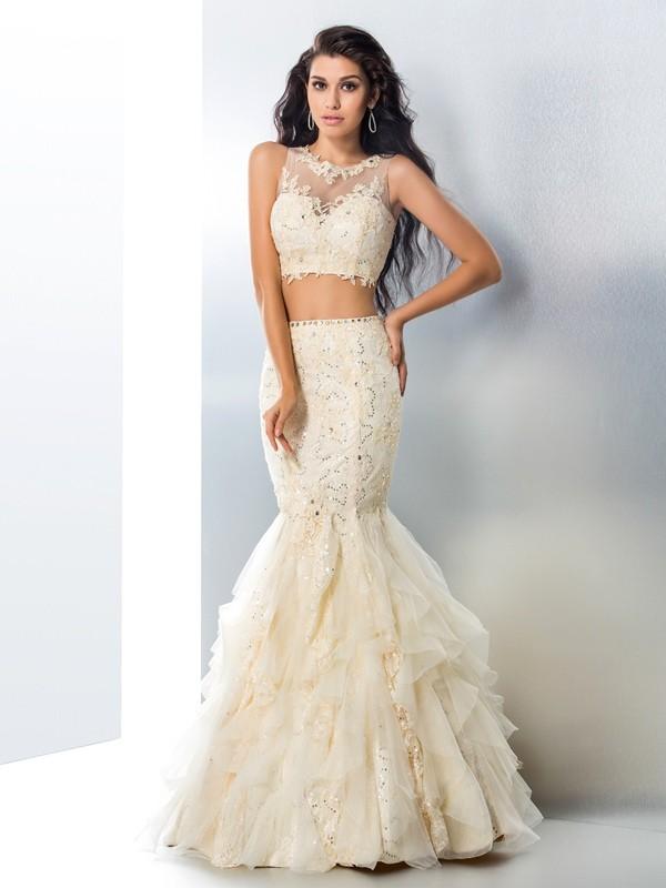 Trumpet/Mermaid Beading Sheer Neck Sleeveless Floor-Length Tulle Two Piece Dresses